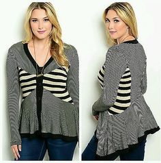 New Womens Fall Plus Size Black Beige Sweater 1X button up cardigan striped