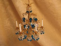 Dollhouse Doll House Miniature Crystal Chandelier Lamp Blue Capri