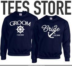 Set of Premium Mr. and Mrs. Sweatshirts / Couple Shirt / His and Her Shirts / Groom Shirt / Bride Shirt / Nautical Theme Wedding Ideas / 238 by TeesStore on Etsy