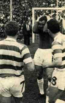 Racing Club 2 Celtic 1 in Nov 1967 in Buenos Aires. Celtic keeper John Fallon was hit in the head from an object thrown from the crowd in the Intercontinental Cup, 2nd Leg.