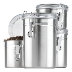 Stainless Steel Canister Set Clear Lids (Set of 4)