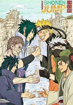 Old friends made enemies - now made friends again... *wipes away a tear*. Sasuke, Naruto, Obito/Tobi, Kakashi, Madara, and Hashirama.