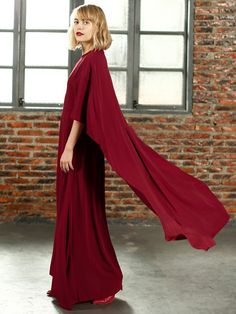 Hight Quality Red Batwing Sleeve Cape Back Maxi Dress Popular