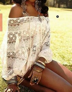 Off Shoulder White Boho Lace Top