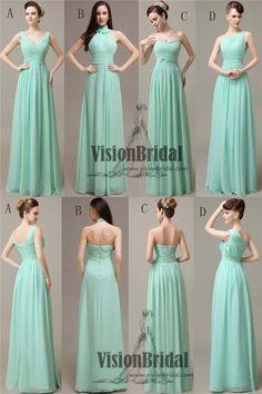 fe865366d5a Mint Green Mismatched Pleating Chiffon Bridesmaid Dresses