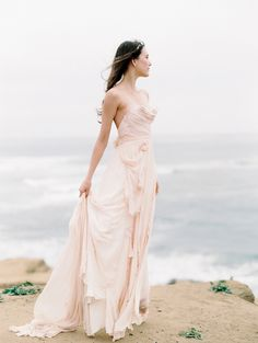 Blush Wedding Gown for a beach wedding. If you want the best officiant for your Outer Banks, NC, ceremony, contact Rev. Barbara Mulford: myobxofficiant.com/