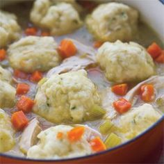 Chicken and dumplings.  Perfect for snowy weather!
