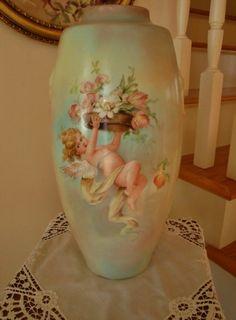 Hand Painted Porcelain Huge Vase ~Cherub~ Signed E. Miler (1800 - early 1900)