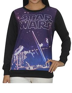 STAR WARS Womens CrewNeck Long Sleeve Pullover Sweatshirt XS Black ** Check out the image by visiting the link.