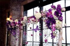 Ooooooh, I like this very much it would match the other tree arch! Photos here would be so pretty.    Wedding, Flowers, White, Purple, Ceremony, Black, Inspiration board