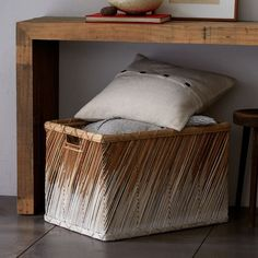 Dipped Basket - Storage | west elm (great storage for under a console or side table!)