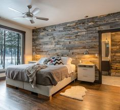 Best Modern Rustic Bedroom For Your Home. We searched the Modern Rustic Bedroom For Your Home color choices for you in the bedroom Rustic Master Bedroom, Home Decor Bedroom, Pallet Wall Bedroom, Pallet Walls, Bedroom Accent Walls, Rustic Bedroom Design, Wooden Bedroom, Bedroom Designs, Bedroom With Wood Wall