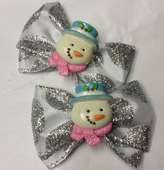 Set of Two Sparkly Snowman Mini Bows by HodgePodgeBowtique on Etsy, $8.50