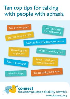 Ten Top Tips for Talking with People with Aphasia. Pinned by ottoolkit.com your source for geriatric occupational therapy resources.