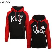 2692abb9f6 Couples Lover Matching Look Sweatshirt 2018 Autumn Winter Unisex Women Men  Casual Hooded Hoodies KING and Queen Letter Pullovers. Fashion  ClothesFashion ...