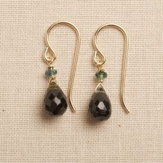 tourmaline earrings gemstone drop earrings dark green by izuly, $48.00