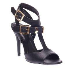 Delicious Womens ARROYO Open Peep Toe Slingback Ankle T Strap Chevron High Heel Stiletto Pump Shoes, Black PU Leather, 9 B (M) US