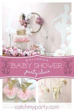My Little Angel Decorations 's Baby Shower / Ballerina - Ballerina/Modern Baby Shower at Catch My Party Shower Party, Baby Shower Parties, Baby Shower Themes, Baby Shower Decorations, Shower Ideas, Shower Games, Ballet Baby Shower, Ballerina Baby Showers, Ballerina Party