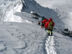 Climbers on the way down from the summit of Everest