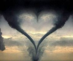 Texas heart tornado - the middle of the heart is a 3rd tornado forming - scary. Shut the front door!