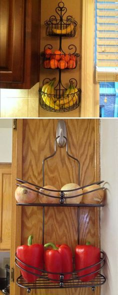 Save your counter space with this 3 tier black iron fruit basket or shower caddy produce rack.