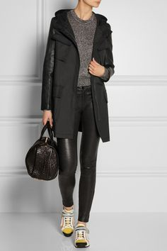 Hooded leather-sleeved cotton-twill coat // DKNY