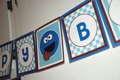 COOKIE MONSTER Birthday Banner  brown and blue by RachelUnlimited, $12.00
