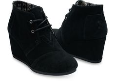 Black Suede Women's Desert Wedges | TOMS