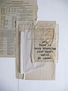 original mixed media collage with inspirational quote.  keep breaking. on Etsy, $45.00