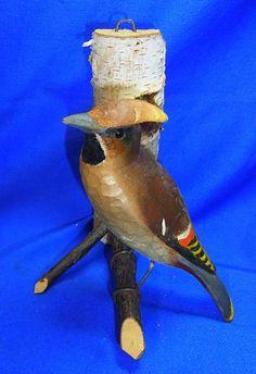 "Vintage Handicraft Folk Art Wood Carved Bird Figure ""Bohemian Waxwing"" #CA11"