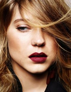 Elle France French beauty Léa Seydoux reminding me just how gorgeous a burgundy lip... #makeup #burgundy