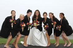 Fall wedding bouquets. Fall wedding flowers. Bridesmaids wearing Groomsmen jackets. Fall wedding ideas.  #fallweddingbouquets #fallweddingflowers #fallweddingideas