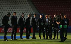 The Italy team take a look around the stadium prior to the UEFA European Under-21 Championship Group C match between Denmark and Italy at Krakow Stadium on June 18, 2017 in Krakow, Poland.