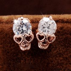 Wow~ Awesome Punk Rose Gold Skull Personalized Alloy Diamond Earrings Studs! It only $9.99 at www.AtWish.com! I like it so much<3<3!