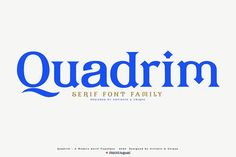 Quadrim - Serif Font Family by Artistic & Unique Serif Typeface, Typography Fonts, Graphic Design Typography, Lettering, Currency Symbol, Bold Bold, Book And Magazine, Magazine Covers, Modern Aesthetics