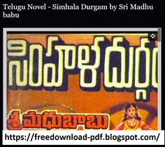 Telugu Novel - Simhala Durgam by Sri Madhu babu Free Novels, Telugu, Reading Online, Detective, Good Books, Language, Pdf, Languages, Great Books