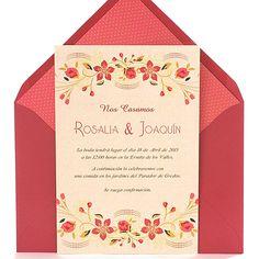 Invitación de boda romantica, original y elegante con flores rojas y color melocotón, sobre salmón: Red Velvet
