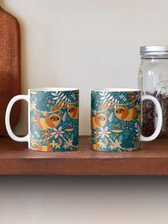 """Happy Boho Sloth Floral "" Mug by micklyn | Redbubble Canvas Prints, Art Prints, Mug Designs, Sloth, Classic Style, Samsung Galaxy, Ceramics, Mugs, Boho"