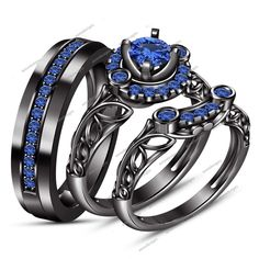 New Lab-Created Round Cut Blue Sapphire in 925 Silver Engagement Trio Ring Set