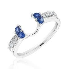 multi stone wedding bands pearl and sapphire - Google Search