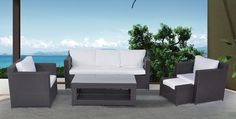 Let your guests enjoy this patio set made from high end materials. This set is perfect for your deck or patio. Resin Wicker Patio Furniture, Outdoor Furniture Sets, White Cushions, Patio Umbrellas, Patio Seating, Outdoor Sectional, Sofa Set, Conversation, Clean Lines