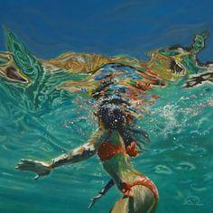 "Saatchi Art Artist Antoine Renault; underwater Painting, """"Where is the cliff ? 2"""" #art"