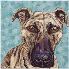 custom pet portrait miniature box canvas original art by NicseARTh, £50.00 #petportraits #greatdane #lurcher #dogs