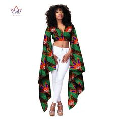 Private Custom Summer Fashion Short Tight Top With Super Long Sleeves Pure Cotton Ankara Style Tops 471 XXL African Fashion Designers, African Print Fashion, Africa Fashion, African Fashion Dresses, Nigerian Fashion, African Attire, African Wear, African Dress, African Women