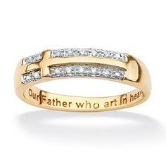 @Overstock.com - White diamond Lord's Prayer ring10-karat yellow gold jewelry.    I like dis!