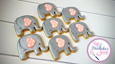 elephant cookies, baby shower, pink & silver, royal icing, decorated sugar cookies