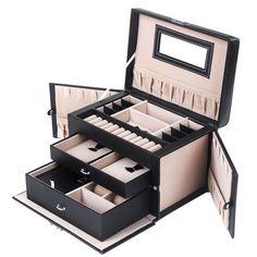 Songmics Boîte à bijoux coffre à bijoux avec 2tiroirs Miroir jbc121b - http://www.darrenblogs.com/2017/04/songmics-boite-a-bijoux-coffre-a-bijoux-avec-2-tiroirs-miroir-jbc121b/