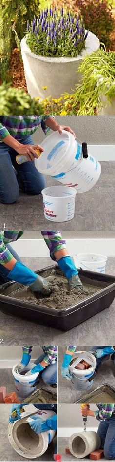 diy concrete planter (think about adding tints to complement or contrast versus flower colors)