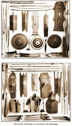 """""""Philippine Weapons of Offense and Defense"""" - plate 1, Krieger Collection, United States National Museum"""