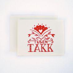 "Nordic ""Tusen Takk"" Blank Thank You Cards, Norwegian Stationary A2 (Set of 4), Scandinavian Folk Art, Linocut Block Printing in Red/Cream"